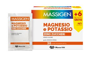 MASSIGEN MAGNESIO POTASSIO SENZA ZUCCHERO IN BUSTINA CON ASTUCCIO 24+6 BUSTINE - Farmacia 33