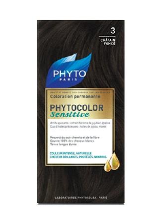 PHYTOCOLOR SENSITIVE 3 CASTANO SCURO 1 LOZIONE LIQUIDA 60 ML + 1 CREMA 40 ML + 1 BALSAMO 12 ML + FOGLIETTO DI ISTRUZIONI + GUANTI LATTICE - Antica Farmacia Del Lago