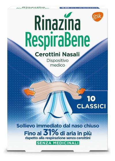 Rinazina Respirabene Cerotti Nasali CLASSICI 10 pezzi - Farmamille