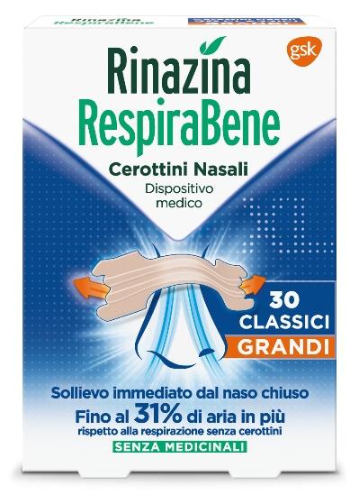 RINAZINA RESPIRABENE CEROTTI NASALI CLASSICI GRANDI CARTON 30 PEZZI - Farmamille