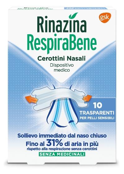 RINAZINA RESPIRABENE CEROTTI NASALI TRASPARENTI CARTON 10 PEZZI - Farmacento