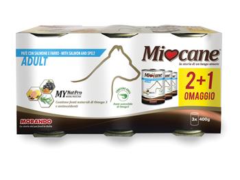 MIOCANE PATE' TRIS ADULT SALMONE/FARRO 3 X 400 G - Farmacento