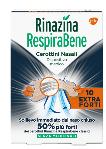 RINAZINA RESPIRABENE CEROTTI NASALI EXTRA FORTI 10 PEZZI - Farmamille