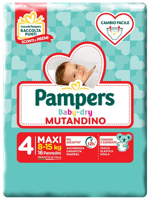 PAMPERS BABY DRY MUTANDINO SM TG4 MAXI 16 PEZZI - Farmamille
