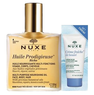 NUXE HUILE PRODIGIEUSE RICHE 100 ML +  CREME FRAICHE VISO 15 ML PROMO - Farmastar.it