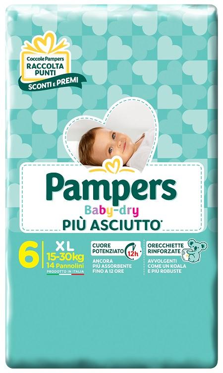 PAMPERS BABY DRY DWCT XL 14 PEZZI - FARMAPRIME